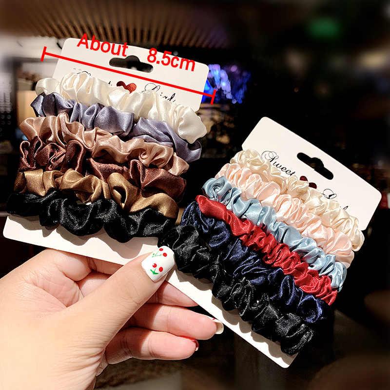 5-6 шт./компл. бархат, обтянутая тканью; повязка на голову для Для женщин; обычная блузка для девочек; резинка для волос, обтянутая тканью; резиновые ленты аксессуары для волос резинка для волос хвост держатель