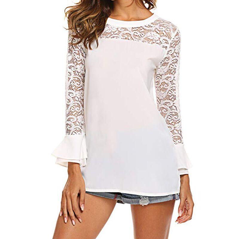 Ruffles Blouses Casual Top Fashion Chemise Femme Shirts Blusas Feminina Shirts Women Blouses Summer White Lace Chiffon Blouse