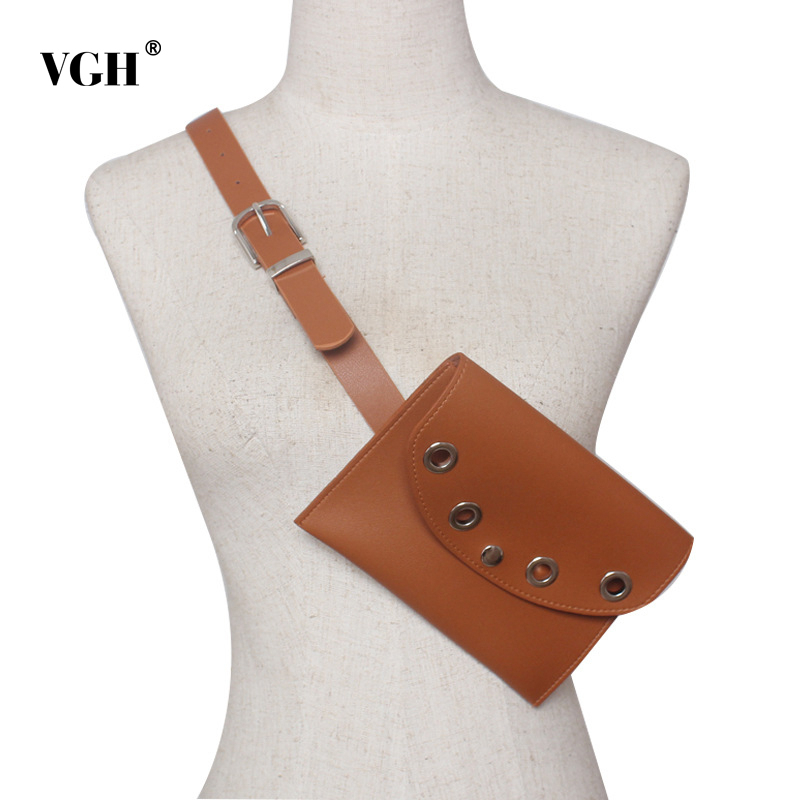 VGH Vintage Hollow Out PU Leather Women's Waist Belt Detachable Small Bag Wide Belt Female Fashion Tide 2020 Spring Accessories