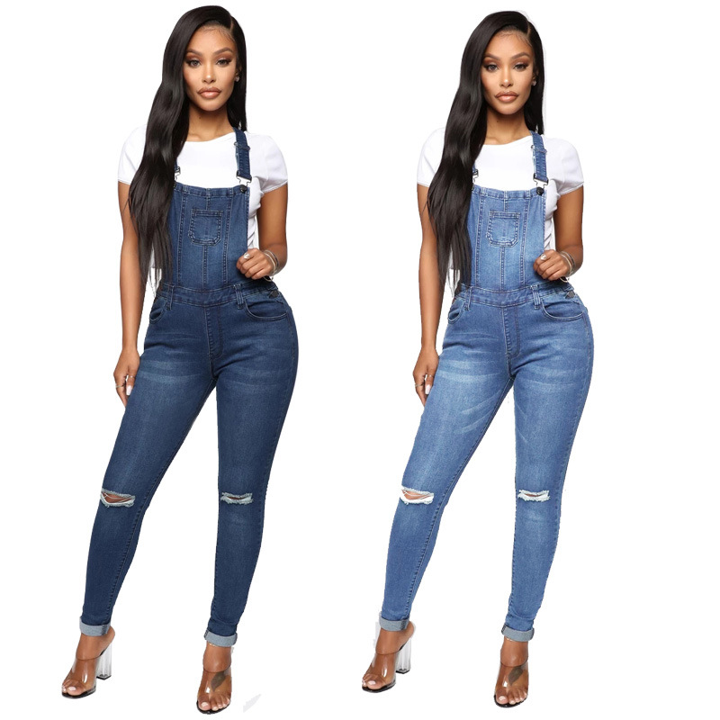 Women Casual High Waist Ripped Jeans 2019 New Autumn Streetwear Elastic Button Skinny Hole Denim Pencil Pants Overalls