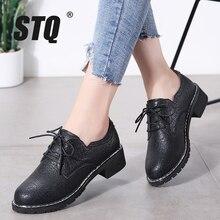 STQ zapatos planos Oxford de piel auténtica para mujer, mocasines con cordones, para invierno, LSJ1208