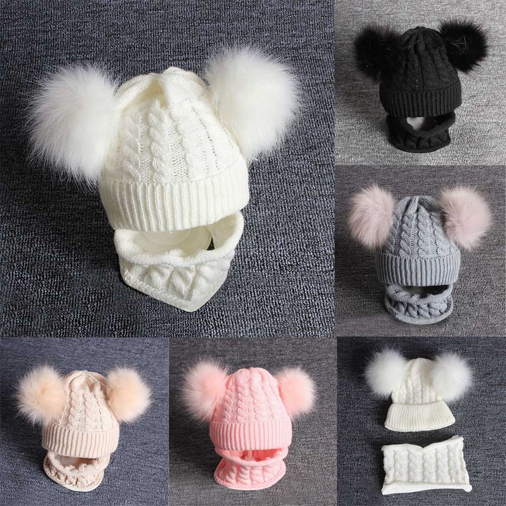 Toddler Kid Ear Flap Beanie Cap Knit Furry Winter Baby Infant Fox Animal Hat