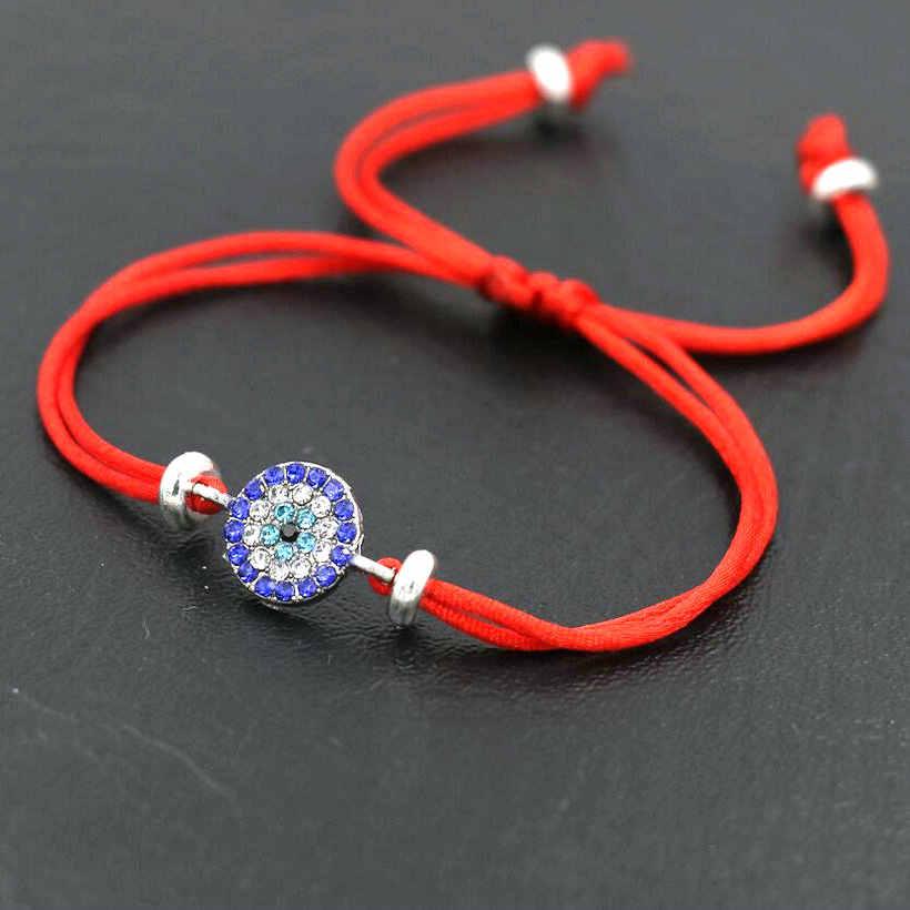 Pulsera de circonio azul, brazaletes de cuerda de hilo rojo para hombres, mujeres, pareja, joyería ajustable