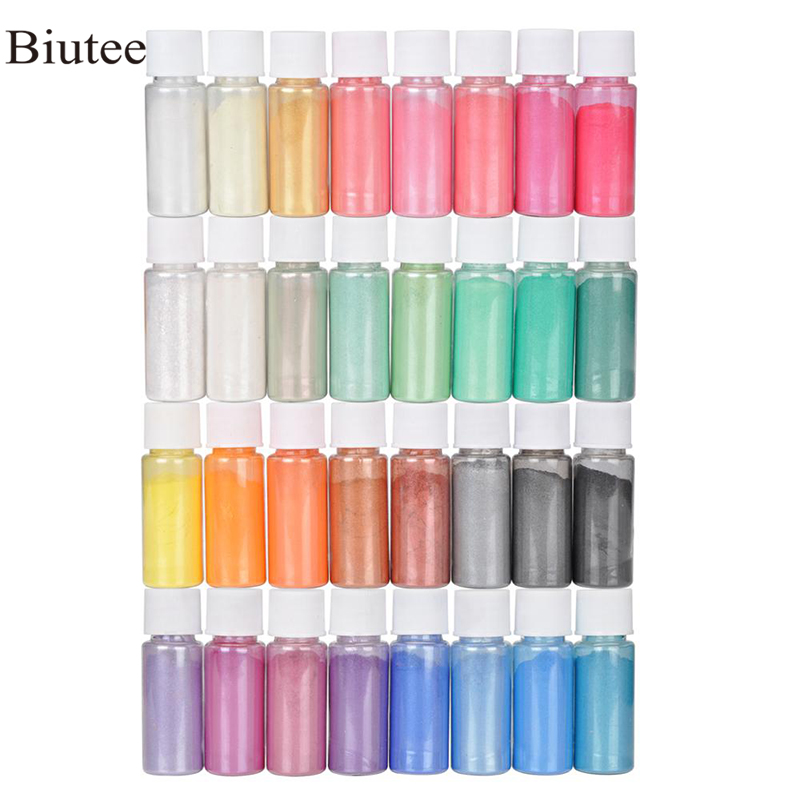 Biutee 32 Colors Mica Powder Epoxy Resin Dye Pearl Pigment Natural Acrylic Nail Kit New 2019 Polygel Nail Gel Glitter Powder