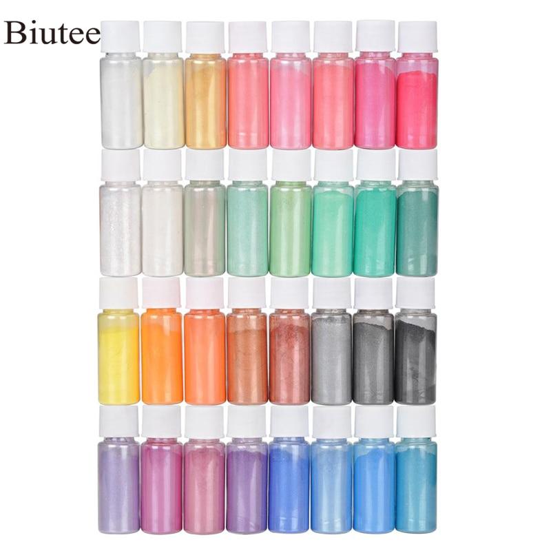 Biutee 32 Colors Mica Powder Epoxy Resin Dye Pearl Pigment Natural Acrylic Nail Kit New 2019 Polygel Nail Gel Glitter Powder