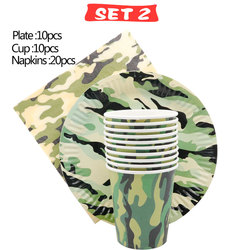 Party Decorations Army Camo Disposable Tableware Plate Cup Birthday Party Christmas Supplies