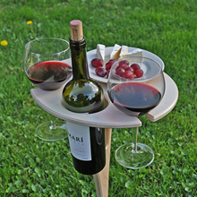 Outdoor Portable Wine Table with Awl-type Pile Bottle Holder Collapsible Picnic Accessory