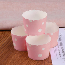50 pçs bolo borda envoltórios criativo cupcake papel cozimento copos festa de casamento bolo forro (tamanho m, pontos)