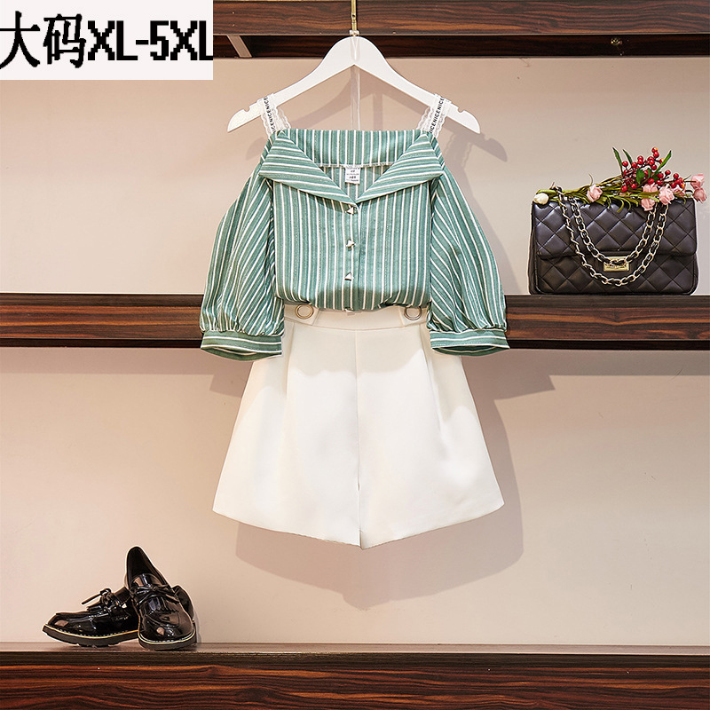 2019 Summer New Style Large Size Dress Fat Mm Ozhouzhan Camisole Shirt Off-Shoulder Elastic Waist Loose Pants WOMEN'S Suit