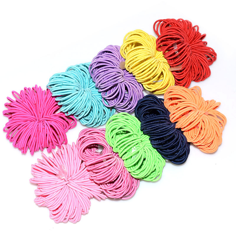 100pcs Pack 0.2cm Small Jointless Rubber Band With Strong Tension No Deformation Children Headwear Girl Fashion Accessories G011