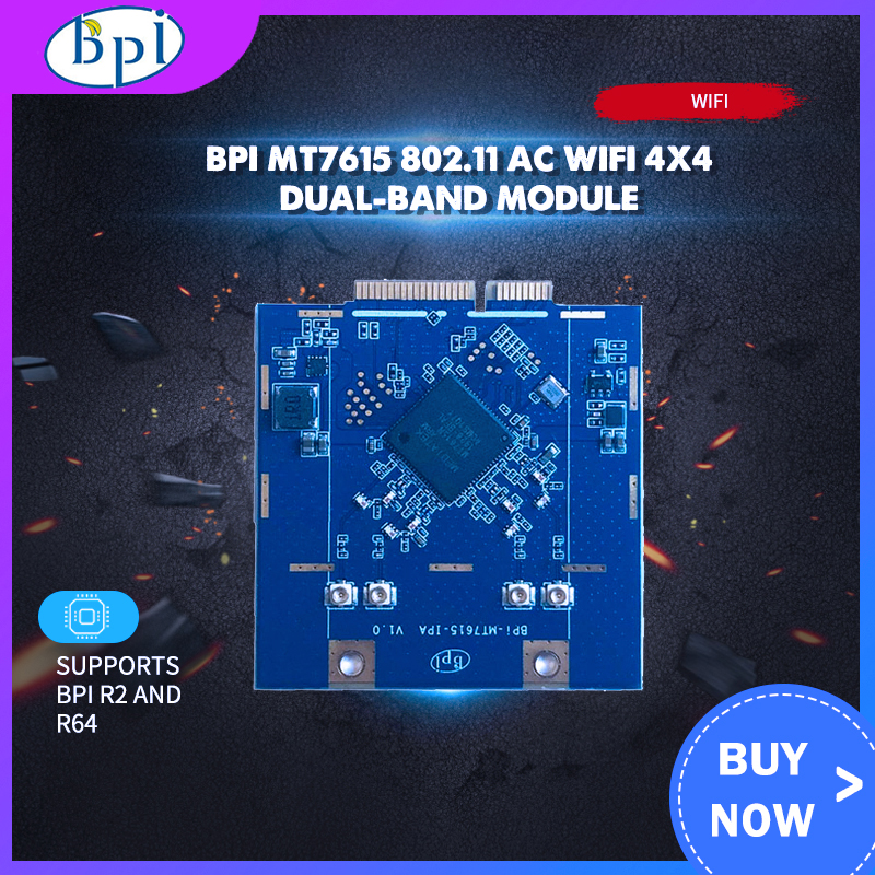 Banana Pi BPI MT7615 802.11 Ac Wifi 4x4 Dual-band Module Support Linux Openwrt Android BPI R2/R64 Board Banana Pie