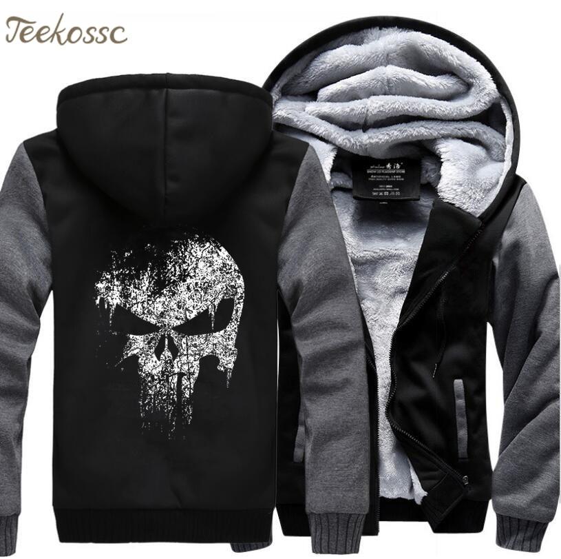 Super Hero  Skull Sweatshirts Men 2018 New Winter Fleece Print Thick Hoodies Jacket Hoddie Streetwear Hip Hop Male-in Hoodies & Sweatshirts from Men's Clothing