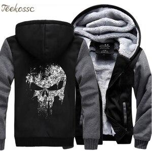 Image 1 - Super Hero  Skull Sweatshirts Men 2018 New Winter Fleece Print Thick Hoodies Jacket Hoddie Streetwear Hip Hop Male