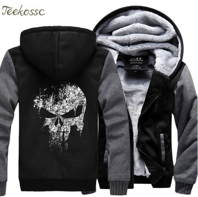 Super Hero  Skull Sweatshirts Men 2018 New Winter Fleece Print Thick Hoodies Jacket Hoddie Streetwear Hip Hop Male