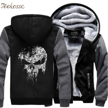 Super herói crânio sweatshirts homens 2018 novo inverno velo impressão grosso hoddie streetwear hoddie jaqueta hip hop masculino