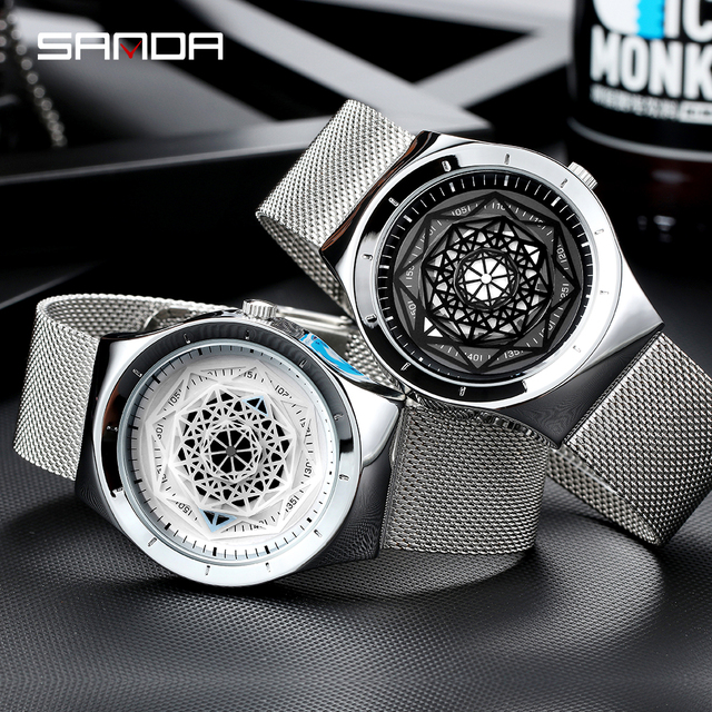 SANDA New Luxury Mens Watches Sport Quartz Watch Personality Fashion Leather Business Leather Wristwatch Relogio Masculino 1027