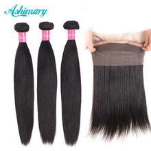 Ashimary 360 Lace Frontal with Bundle Brazilian Straight Hair Bundles 360 Lace Frontal Closure with Bundles Remy Hair Weave(China)