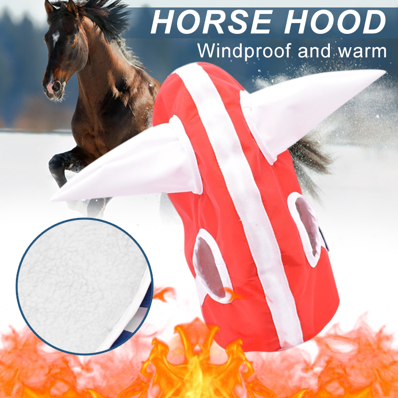 Novelty Winter Horse Hood Head Cover Plush Lined Headwear For Foal Horse Warm Clothing FDX99