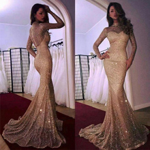 2020 New Evening Dress Women Elegant Mermaid Sweep Train Sequins Slim Long-Sleeved Evening Dress Female Real Photo