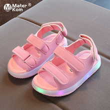 Size 21-30 Baby Anti-slippery Toddler Sandals Children Led Light Up Shoes Girls Luminous Shoes Boys Sandals with Luminous Sole cheap Mater Kom Rubber 7-12y 13 5cm 14cm 14 5cm 15cm 16cm 17cm 17 5cm 18cm CN(Origin) Summer Gladiator unisex Lighted Patent Leather