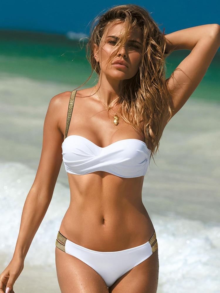 Bikini sexy push-up 2021 Nuovo costume da bagno donna Bikini solido Set due pezzi Costumi da bagno Estate Beachwear Costume da bagno brasiliano Biquini
