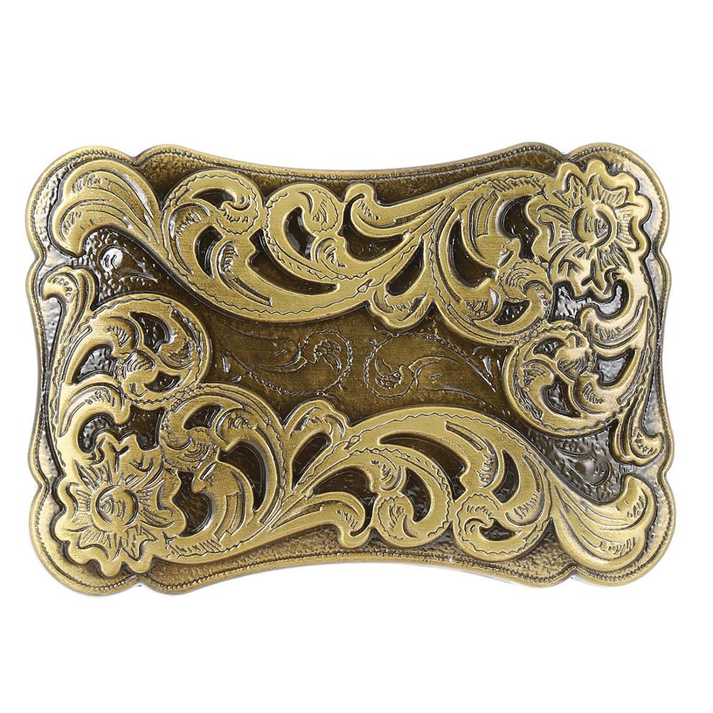 Golden Retro Flower Rectangular Belt Buckle Men's Western Cowboy Buckle Without Belt Custom Alloy Width 4cm