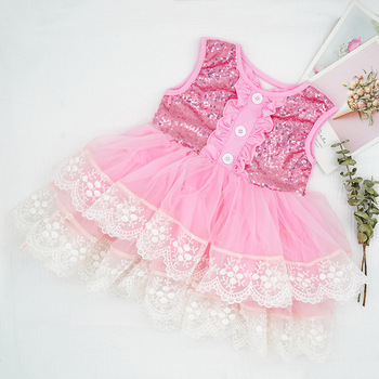 4144 Ruffles Sequins Lace Toddler Tutu Princess Baby Girl Dress New Summer Party Wedding Kid Dress For Girl Easter Day Clothes