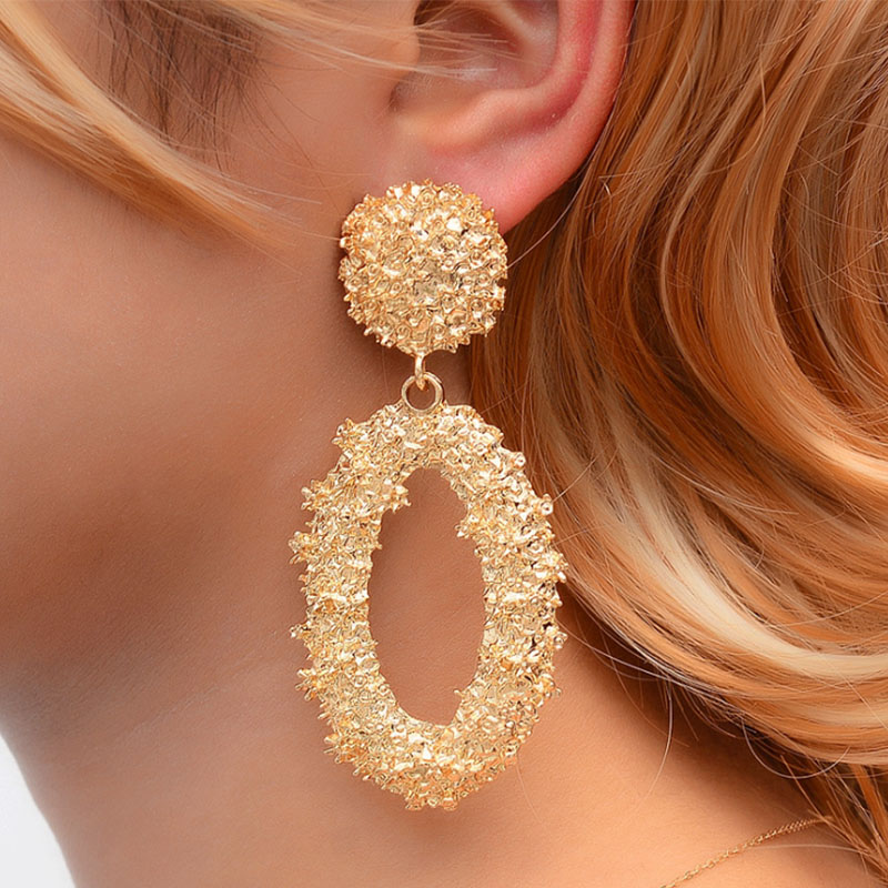 Endless Friendship Vintage matte geometric hollow earrings cold wind embossed oval temperament fashion jewelry gift