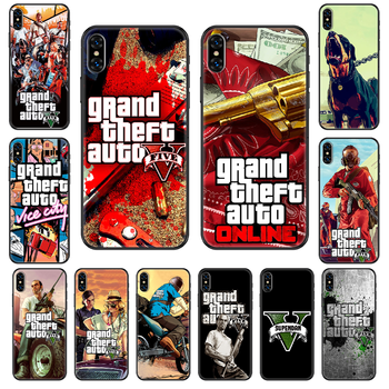 Grand Theft Auto GTA 5 Phone case For iphone 4 4s 5 5S SE 5C 6 6S 7 8 plus X XS XR 11 PRO MAX 2020 black 3D waterproof pretty image