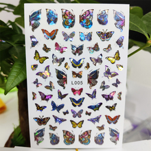3D Nail Sticker Waterproof Self-adhesive Stickers for Nails Laser Blue Color Butterfly