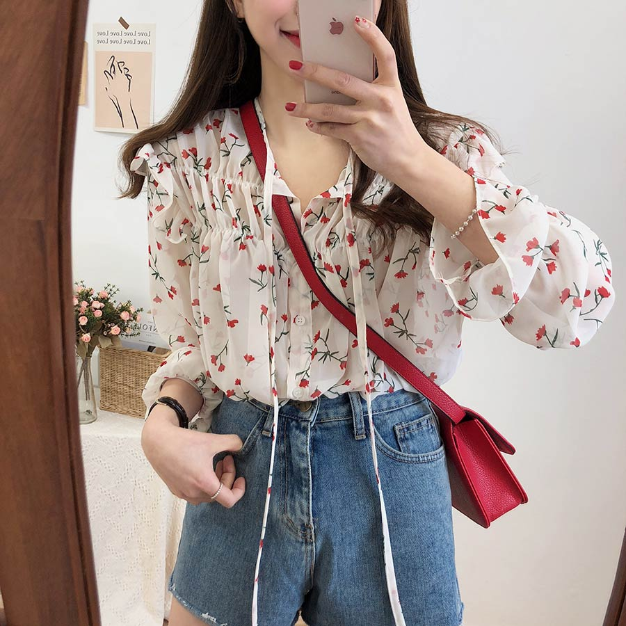 Hf5c83469e0ad41e19611b684245bef776 - Spring / Autumn Lace-Up Collar Long Sleeves Floral Print Blouse