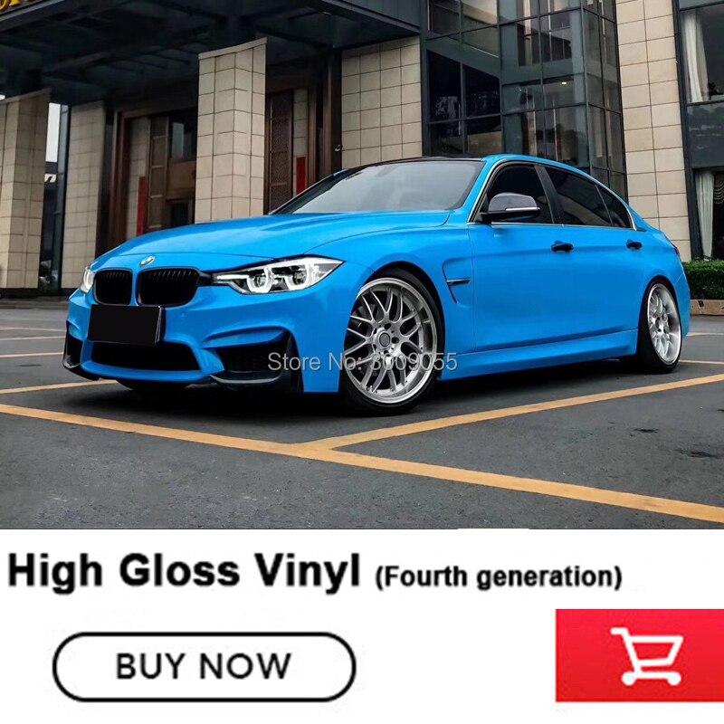 Plus haute qualité brillant bleu Clair vinyle film d'enveloppe de voiture De Vinyle Brillant autocollant de film d'enveloppe de voiture de cas Réel photo