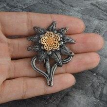 Broche Vintage Edelweiss de las tropas de Montaña de la Segunda Guerra Mundial alemán Elite Cockade Pin Vintage insignia para sombrero joyas militares regalo