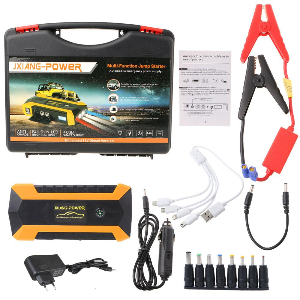 89800mAh 4 USB Portable Car Jump Starter Pack Booster Charger Battery Power Bank W91F