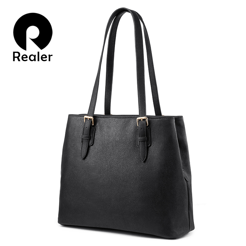 Realer Handbags For Women Fashion Shoulder Bag Female High Quality Artificial Leather Casual Tote Bag For Ladies Luxury Designer