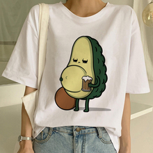 Fashion Top Tee Female Cartoon Avocado Vegan Short Sleeve Cu