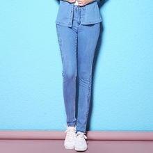 Женские летние джинсы карандаш enbroidery кружевной тонкий светильник