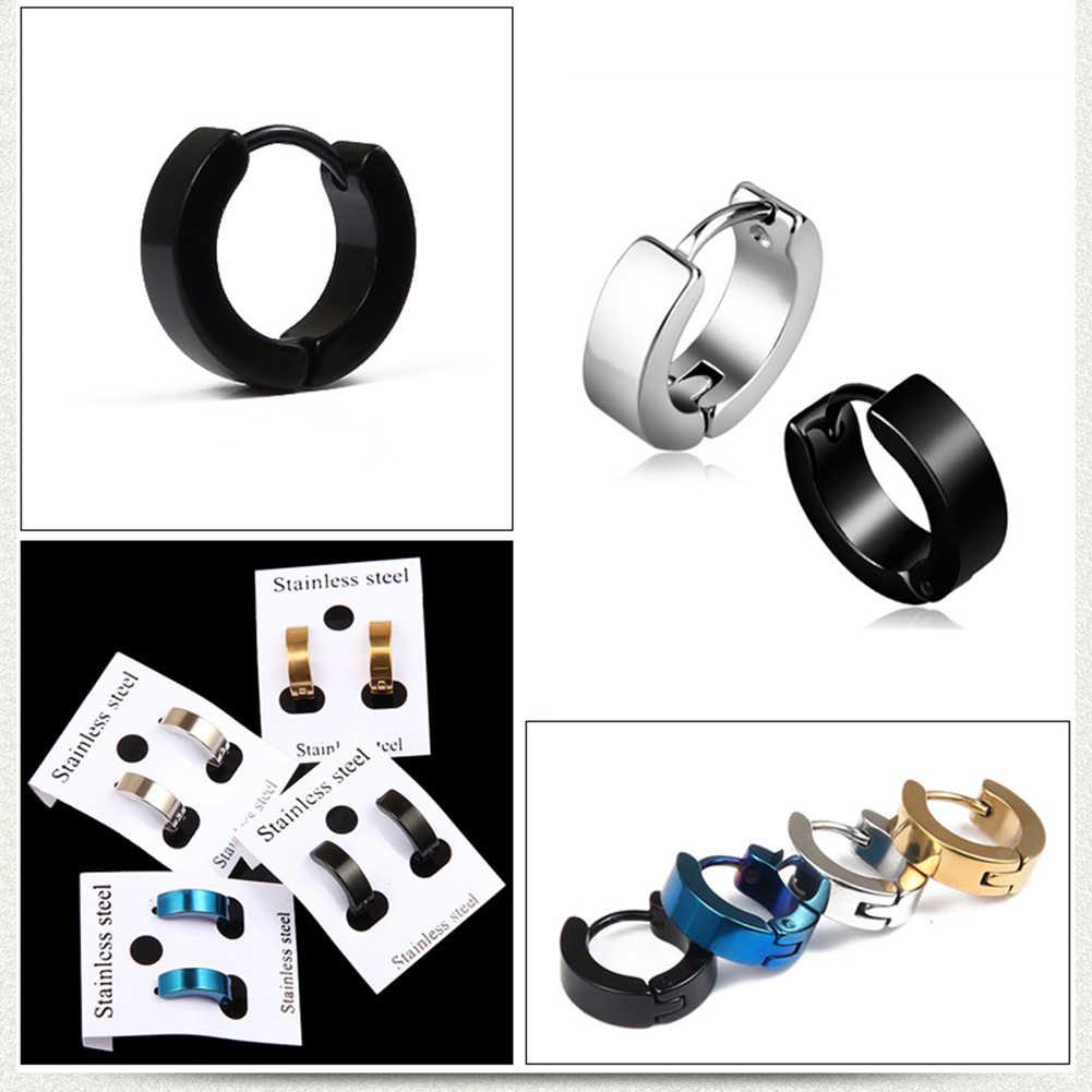 1PC ラウンドパンクロックスタイルチタン鋼スタッドピアス男性女性の低刺激性のイヤリングチタン鋼耳イヤリング