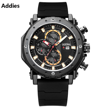 2020 Addies Men Watches Luminous Luxury Fashion Military Sport Chronograph Quartz watch For Man Relogio Masculino Waterproof 50M reef tiger brand chronograph sport watches for men dial skeleton fashion design luminous swiss quartz watch relogio masculino