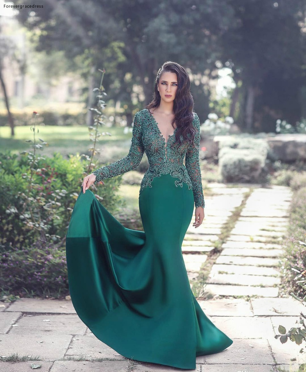 2018 Sexy Sheer Neck Dark Green Mermaid Evening Dresses Illusion Lace Appliques Long Sleeves Satin Floor-Length Formal Wears Evening Gowns 119 (3)