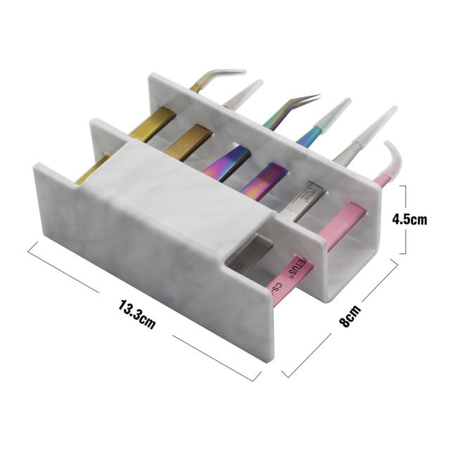 NEWCOME 1 Set Acrylic Eyelash Tweezer Storage Holder 6Pcs Convenient Tweezer Stand Shelf Holder Eyelashes extension Makeup Tool 3