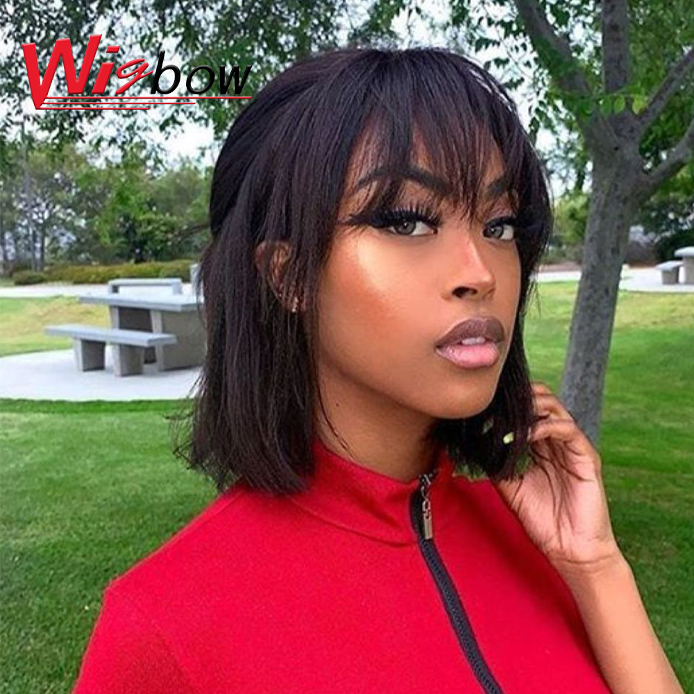Short Wigs Wig With Bangs Short Bob Wig Brazilian Pixie Cut Wig Straight Human Hair Wigs Natural Color Remy Hair