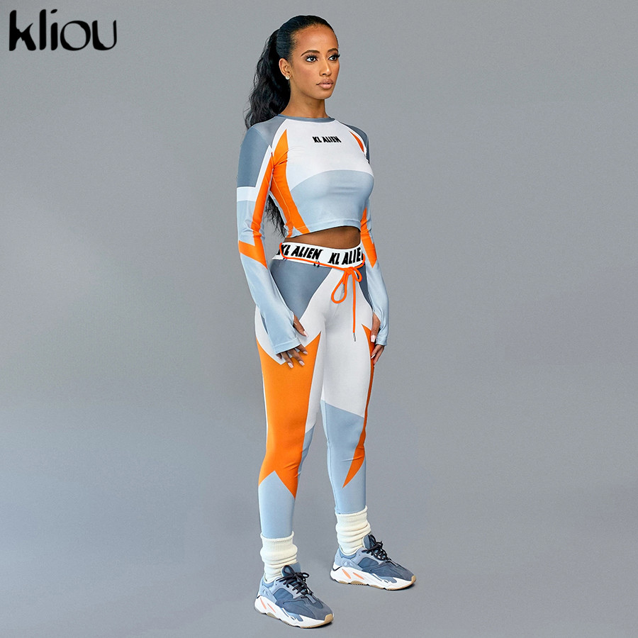 Kliou 2020elastic Fitness Tracksuits Women Slim Two-piece Set Print Long Sleeve Crop Top Leggings Sweatsuit Casual Street Outfit