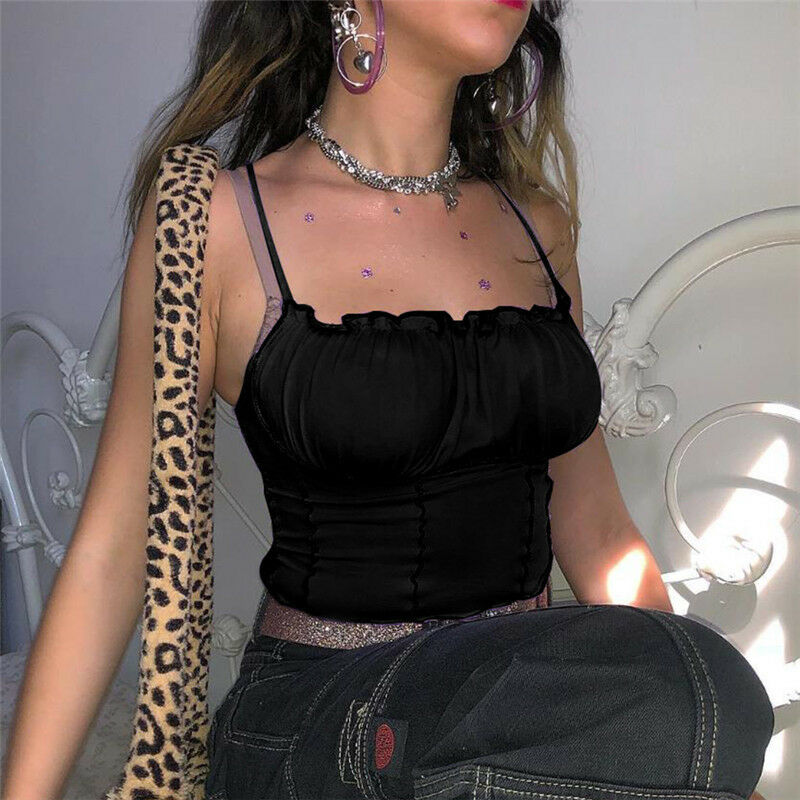 Women Summer Sexy Camis Ruffles Tank Top Fashion Ladies Sleeveless Strapless Ruched Slim Crop Top Camisole