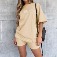 2021 Casual Basic Women's Two Pieces of Sets Homewear Oversize Shirt and Skinny Shorts Set Streetwear Letter Print Set MoneRffi