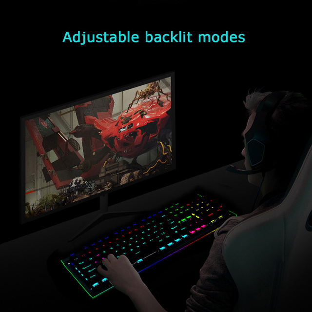 HP GK520 Gaming Keyboard Colorful LED Backlit Side Rainbow Backlight