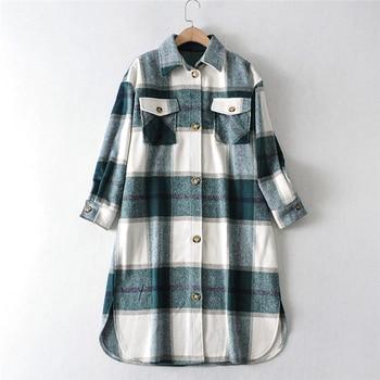 2020 Autumn Winter Women Fashion Warm Vintage Plaid Oversize Woolen Jackets Coat Casual Loose Long Overcoat Female Outwear Tops 5