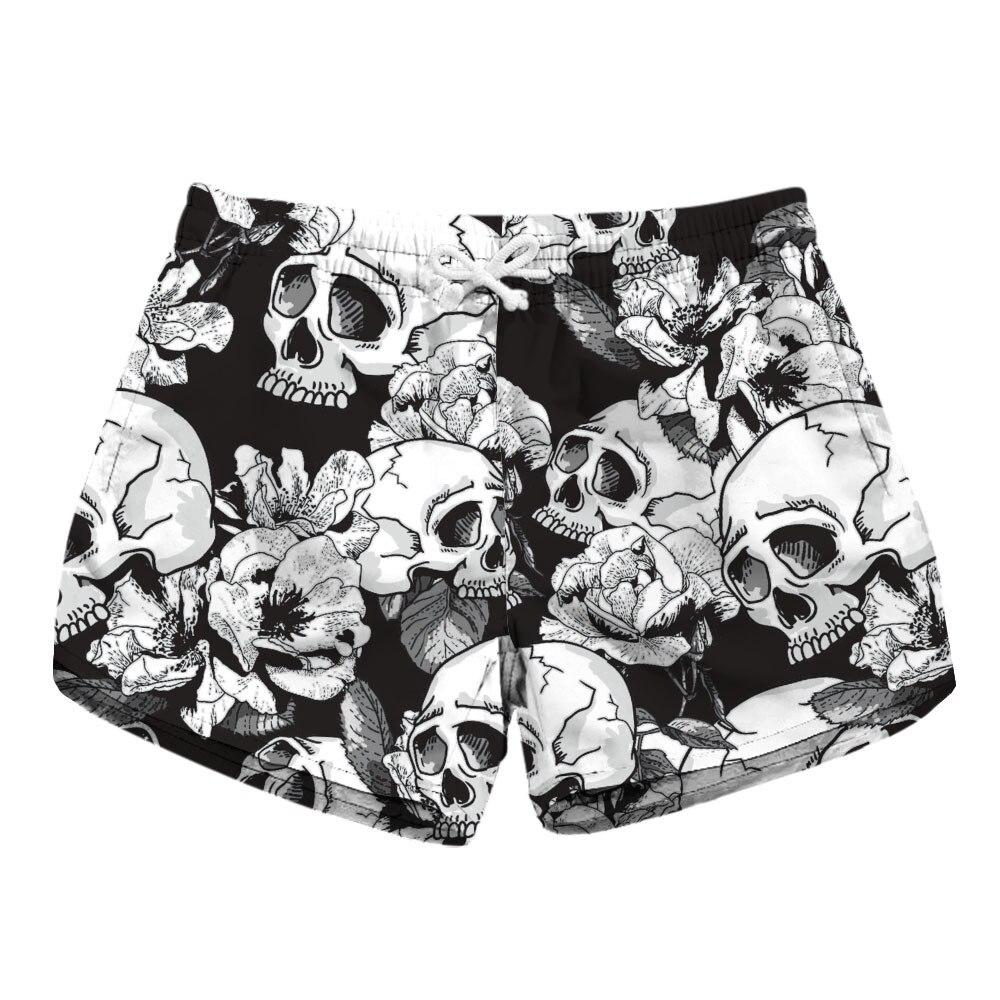 Digital Printing Lady Quick-drying Beach Shorts Skeleton Printing Two Sides Of Pocket Casual Shorts