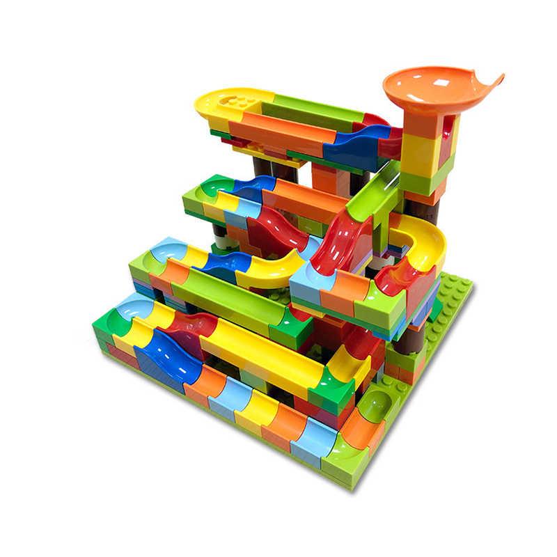 Kleine Größe Marmor Rennen Run Block Maze Ball Track Trichter Rutsche Block Kompatibel Duploed DIY Ziegel Spielzeug für Kinder Geschenk