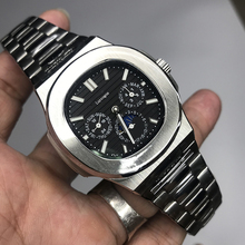 Mens silver watch PP automatic self winding glide smooth Black dial AAA quality all small sub dials works 315L stainless steel цена и фото